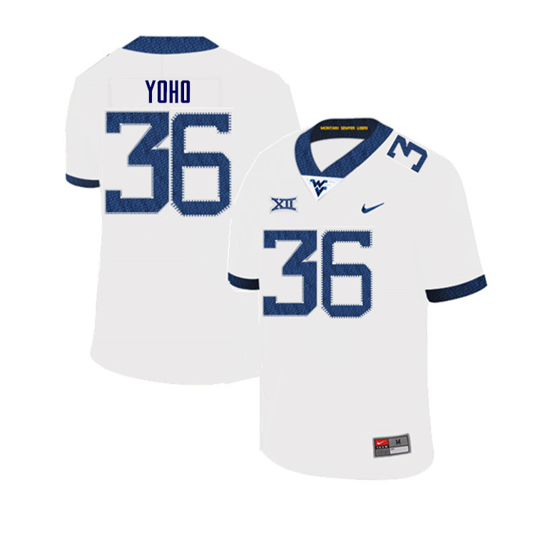 Men #36 Nick Yoho West Virginia Mountaineers College Football Jerseys Sale-White