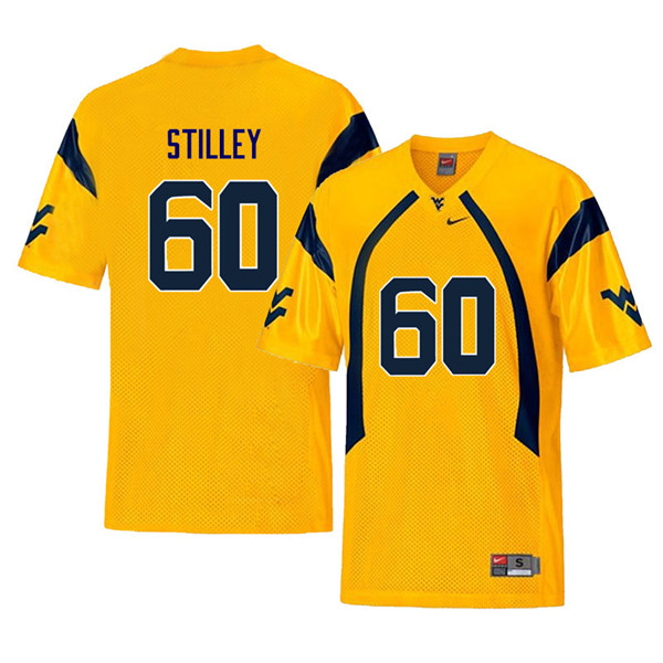 Men #60 Adam Stilley West Virginia Mountaineers Retro College Football Jerseys Sale-Yellow