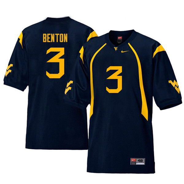 Men #3 Al-Rasheed Benton West Virginia Mountaineers Retro College Football Jerseys Sale-Navy