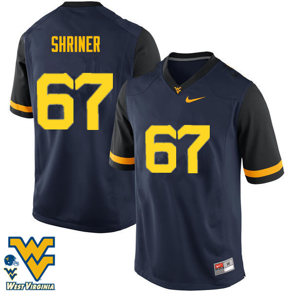 Men #67 Alec Shriner West Virginia Mountaineers College Football Jerseys-Navy