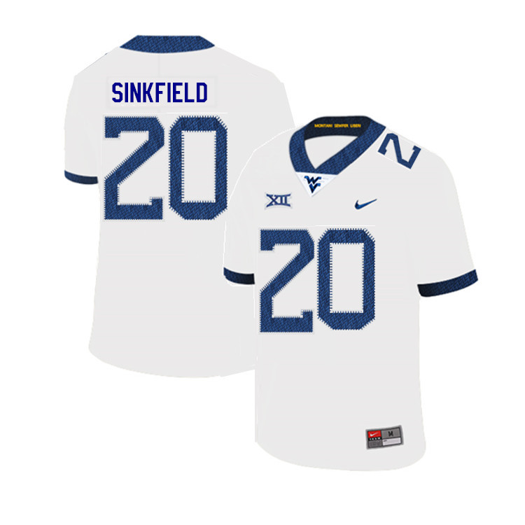 2019 Men #20 Alec Sinkfield West Virginia Mountaineers College Football Jerseys Sale-White