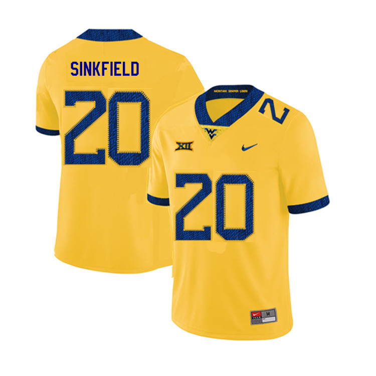 2019 Men #20 Alec Sinkfield West Virginia Mountaineers College Football Jerseys Sale-Yellow