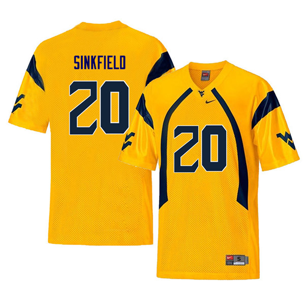 Men #20 Alec Sinkfield West Virginia Mountaineers Retro College Football Jerseys Sale-Yellow