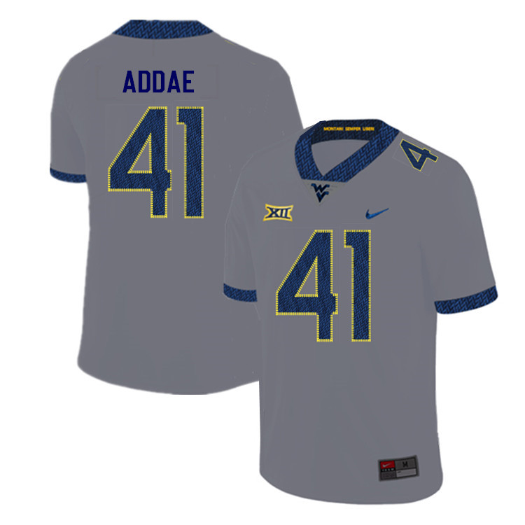2019 Men #41 Alonzo Addae West Virginia Mountaineers College Football Jerseys Sale-Gray