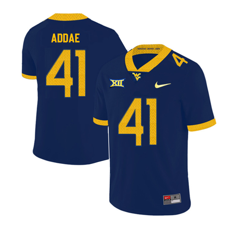 2019 Men #41 Alonzo Addae West Virginia Mountaineers College Football Jerseys Sale-Navy