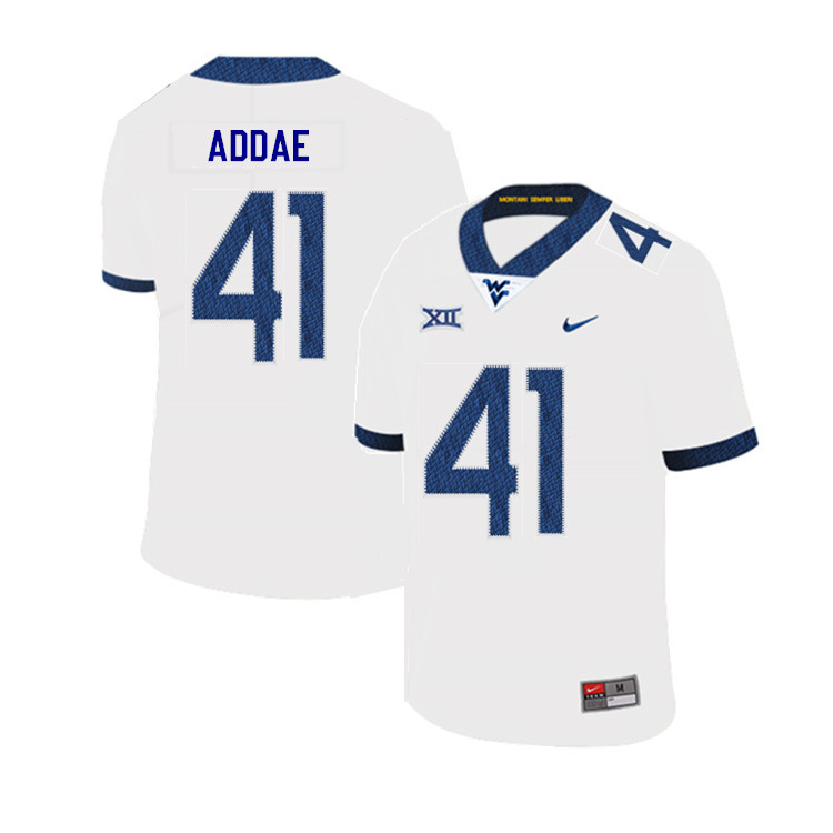2019 Men #41 Alonzo Addae West Virginia Mountaineers College Football Jerseys Sale-White