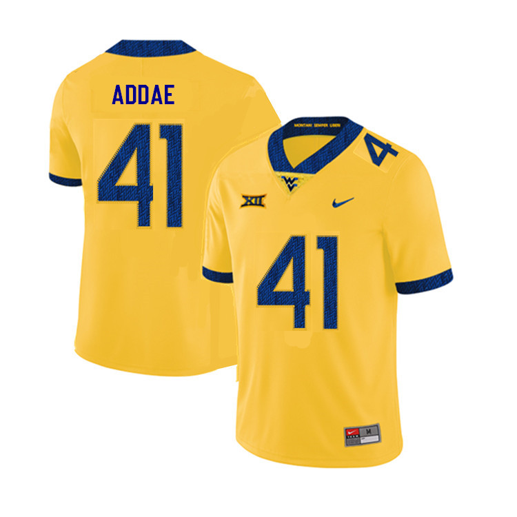2019 Men #41 Alonzo Addae West Virginia Mountaineers College Football Jerseys Sale-Yellow