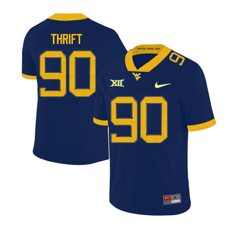 2019 Men #90 Brenon Thrift West Virginia Mountaineers College Football Jerseys Sale-Navy