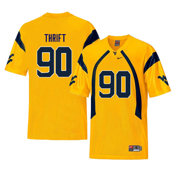 Men #90 Brenon Thrift West Virginia Mountaineers Retro College Football Jerseys Sale-Yellow