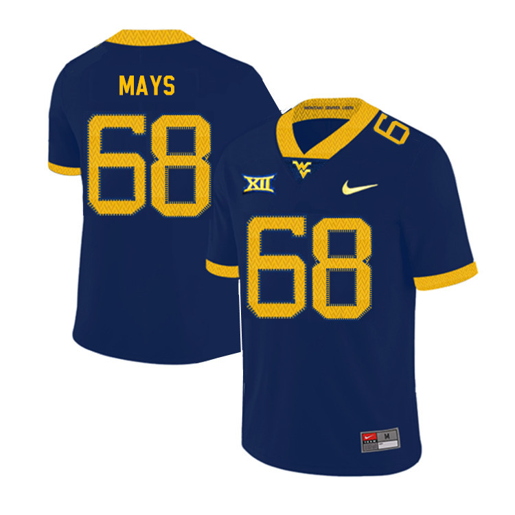 2019 Men #68 Briason Mays West Virginia Mountaineers College Football Jerseys Sale-Navy