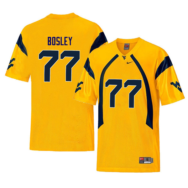 Men #77 Bruce Bosley West Virginia Mountaineers Retro College Football Jerseys Sale-Yellow
