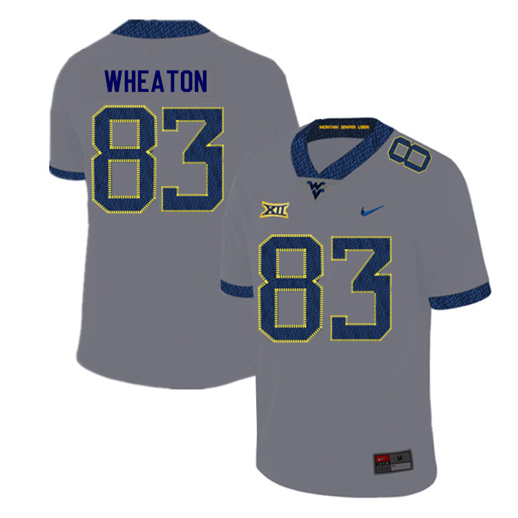 2019 Men #83 Bryce Wheaton West Virginia Mountaineers College Football Jerseys Sale-Gray