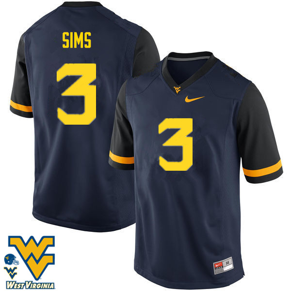 Men #3 Charles Sims West Virginia Mountaineers College Football Jerseys-Navy