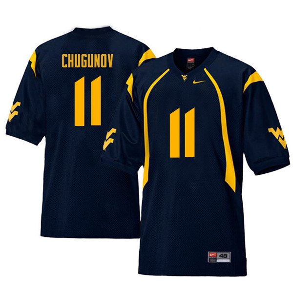 Men #11 Chris Chugunov West Virginia Mountaineers Retro College Football Jerseys Sale-Navy