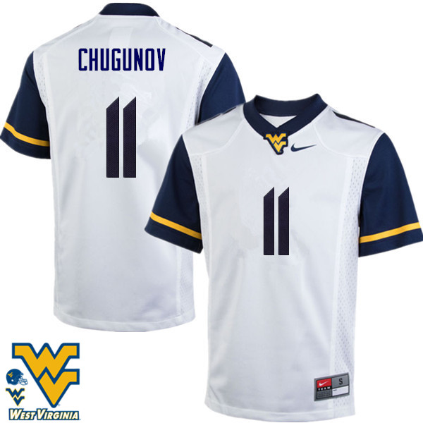 Men #11 Chris Chugunov West Virginia Mountaineers College Football Jerseys-White
