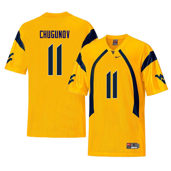 Men #11 Chris Chugunov West Virginia Mountaineers Retro College Football Jerseys Sale-Yellow