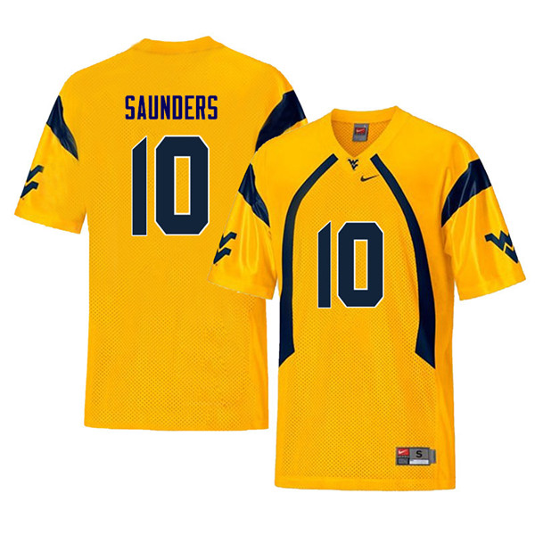 Men #10 Cody Saunders West Virginia Mountaineers Retro College Football Jerseys Sale-Yellow