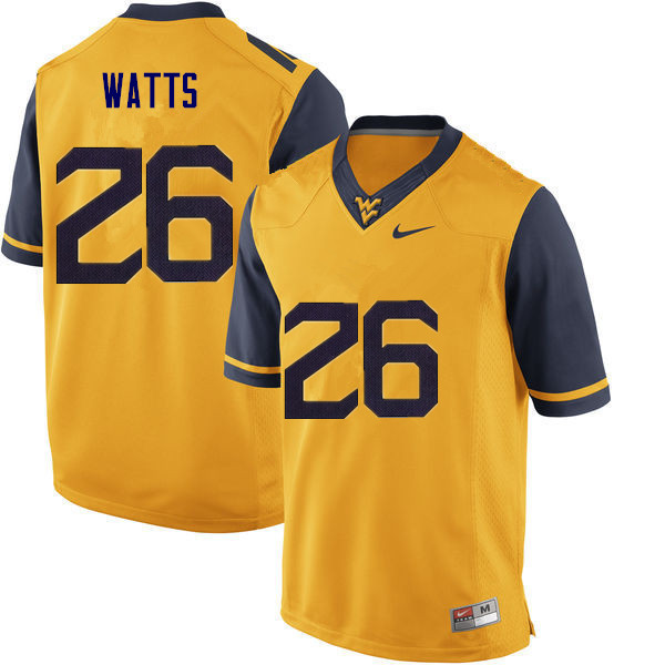 Men #26 Connor Watts West Virginia Mountaineers College Football Jerseys Sale-Gold