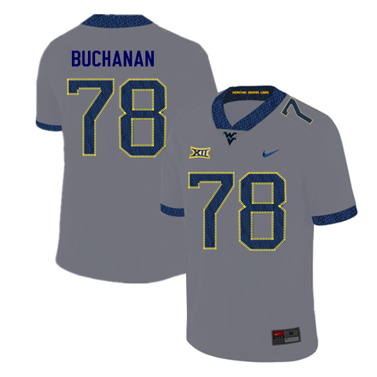 2019 Men #78 Daniel Buchanan West Virginia Mountaineers College Football Jerseys Sale-Gray