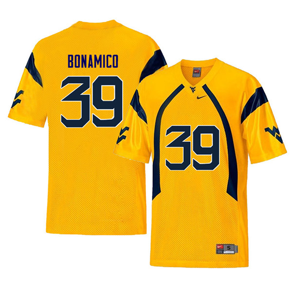 Men #39 Dante Bonamico West Virginia Mountaineers Retro College Football Jerseys Sale-Yellow