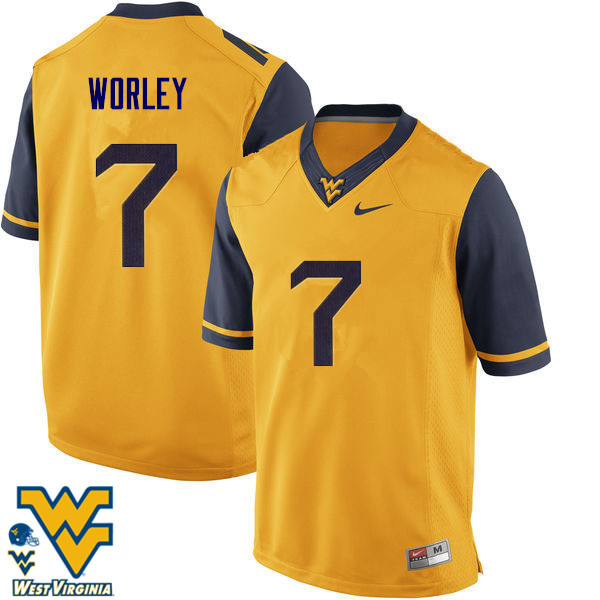 Men #7 Daryl Worley West Virginia Mountaineers College Football Jerseys-Gold