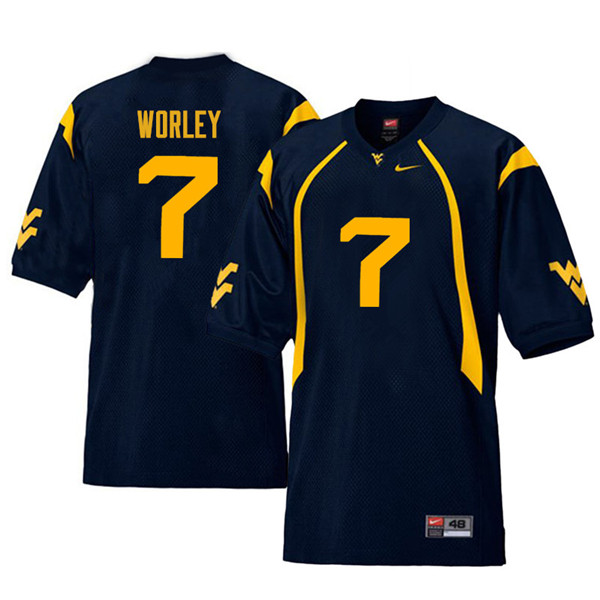 Men #7 Daryl Worley West Virginia Mountaineers Retro College Football Jerseys Sale-Navy