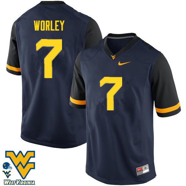 Men #7 Daryl Worley West Virginia Mountaineers College Football Jerseys-Navy