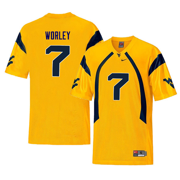 Men #7 Daryl Worley West Virginia Mountaineers Retro College Football Jerseys Sale-Yellow