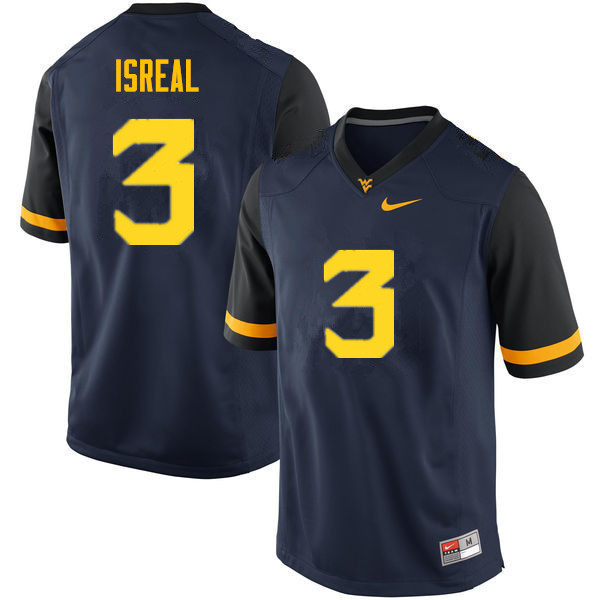 Men #3 David Isreal West Virginia Mountaineers College Football Jerseys Sale-Navy