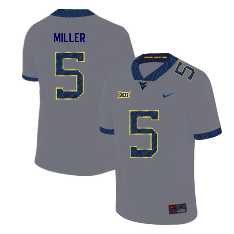 2019 Men #5 Dreshun Miller West Virginia Mountaineers College Football Jerseys Sale-Gray