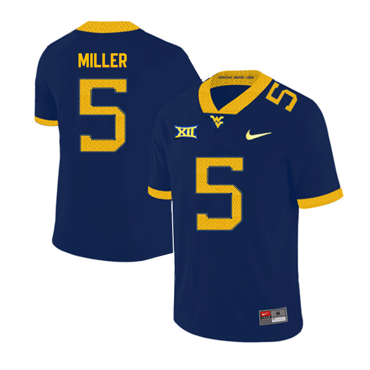 2019 Men #5 Dreshun Miller West Virginia Mountaineers College Football Jerseys Sale-Navy