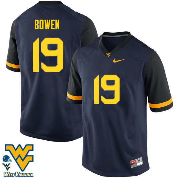 Men #19 Druw Bowen West Virginia Mountaineers College Football Jerseys-Navy