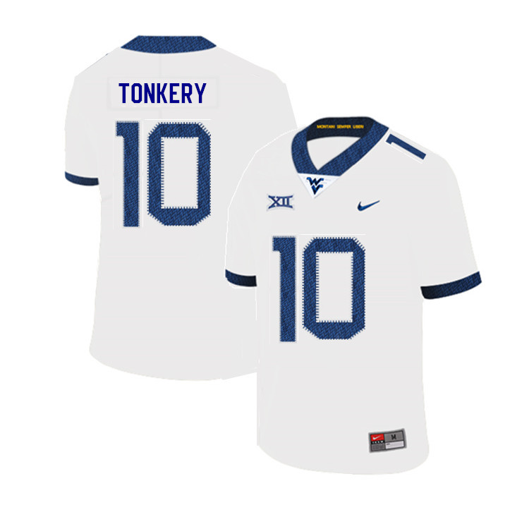 2019 Men #10 Dylan Tonkery West Virginia Mountaineers College Football Jerseys Sale-White