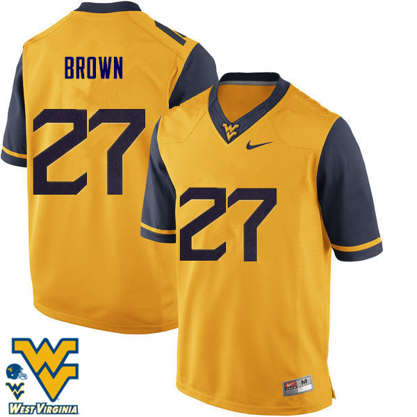 Men #27 E.J. Brown West Virginia Mountaineers College Football Jerseys-Gold