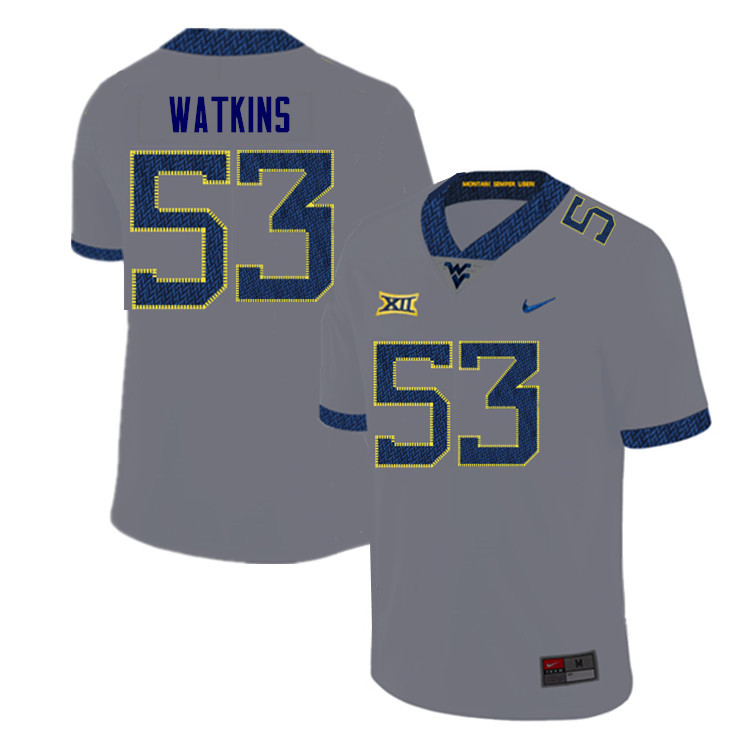 Men #53 Eddie Watkins West Virginia Mountaineers College Football Jerseys Sale-Gray