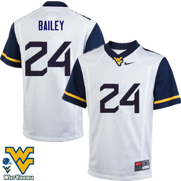 Men #24 Hakeem Bailey West Virginia Mountaineers College Football Jerseys-White