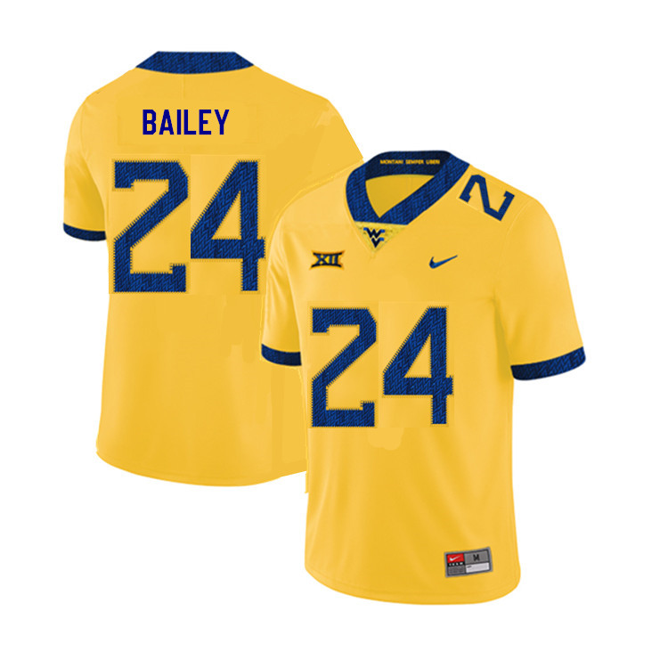 2019 Men #24 Hakeem Bailey West Virginia Mountaineers College Football Jerseys Sale-Yellow