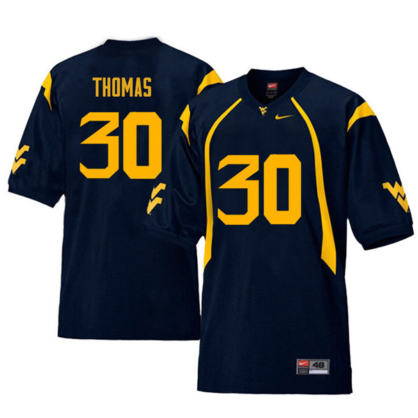 Men #30 J.T. Thomas West Virginia Mountaineers Retro College Football Jerseys Sale-Navy