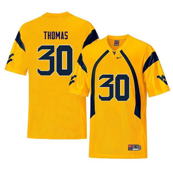 Men #30 J.T. Thomas West Virginia Mountaineers Retro College Football Jerseys Sale-Yellow