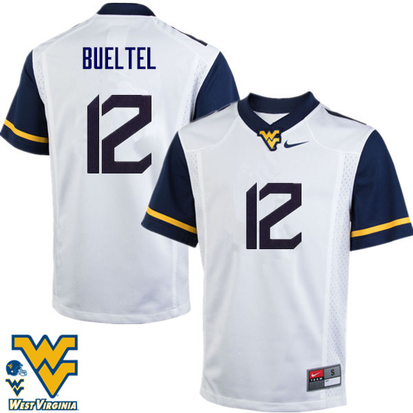 Men #12 Jack Bueltel West Virginia Mountaineers College Football Jerseys-White
