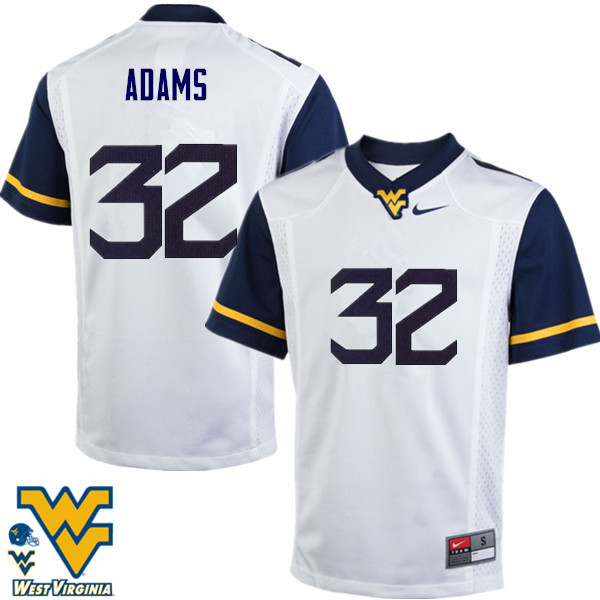 Men #32 Jacquez Adams West Virginia Mountaineers College Football Jerseys-White