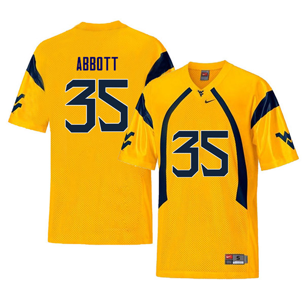 Men #35 Jake Abbott West Virginia Mountaineers Retro College Football Jerseys Sale-Yellow