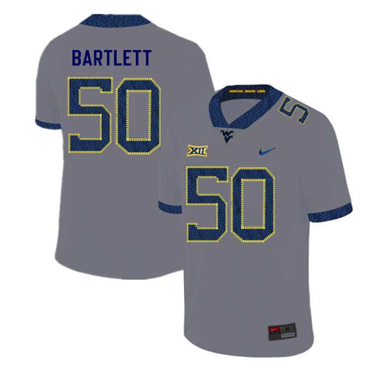 2019 Men #50 Jared Bartlett West Virginia Mountaineers College Football Jerseys Sale-Gray