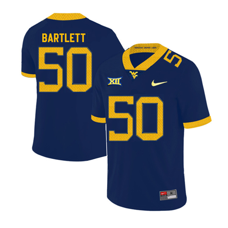 2019 Men #50 Jared Bartlett West Virginia Mountaineers College Football Jerseys Sale-Navy
