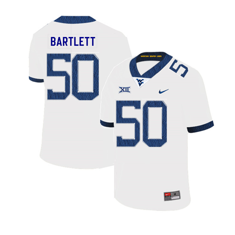 2019 Men #50 Jared Bartlett West Virginia Mountaineers College Football Jerseys Sale-White