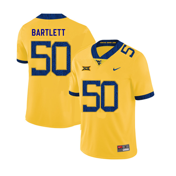 2019 Men #50 Jared Bartlett West Virginia Mountaineers College Football Jerseys Sale-Yellow