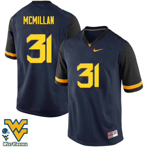 Men #31 Jawaun McMillan West Virginia Mountaineers College Football Jerseys-Navy