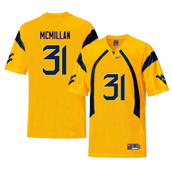 Men #31 Jawaun McMillan West Virginia Mountaineers Retro College Football Jerseys Sale-Yellow