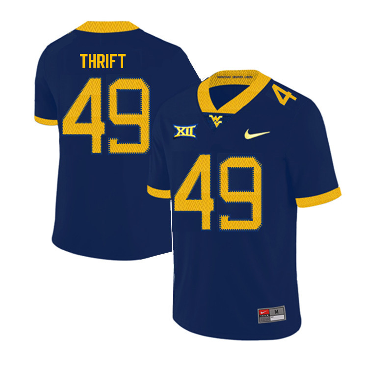 2019 Men #49 Jayvon Thrift West Virginia Mountaineers College Football Jerseys Sale-Navy