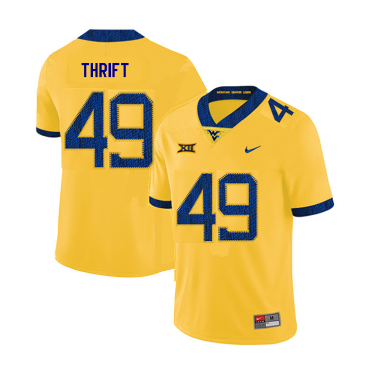 2019 Men #49 Jayvon Thrift West Virginia Mountaineers College Football Jerseys Sale-Yellow